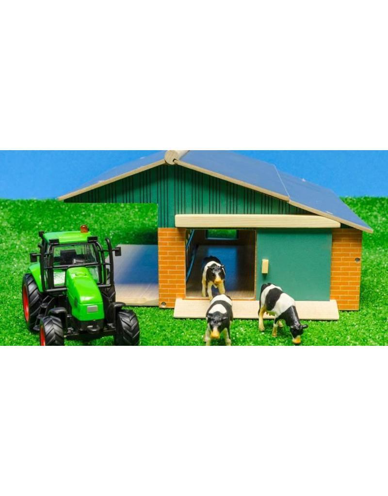 Kids Globe Kids Globe 610049 - Traktorset met openfrontstal 1:50