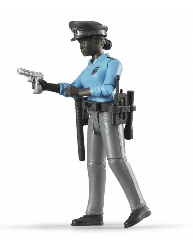 Bruder Bruder 60431 - Speelfiguur politievrouw, donker met toebehoren
