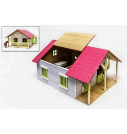 Kids Globe Kids Globe 610168 - Paardenstal hout met 2 boxen en berging (roze) 1:24