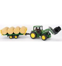 Bruder Bruder 1634 - John Deere tractor 6920 met voorlader en balenwagen