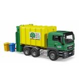 Bruder Bruder 3764 - MAN TGS vuilniswagen groen/geel incl 2 kliko's