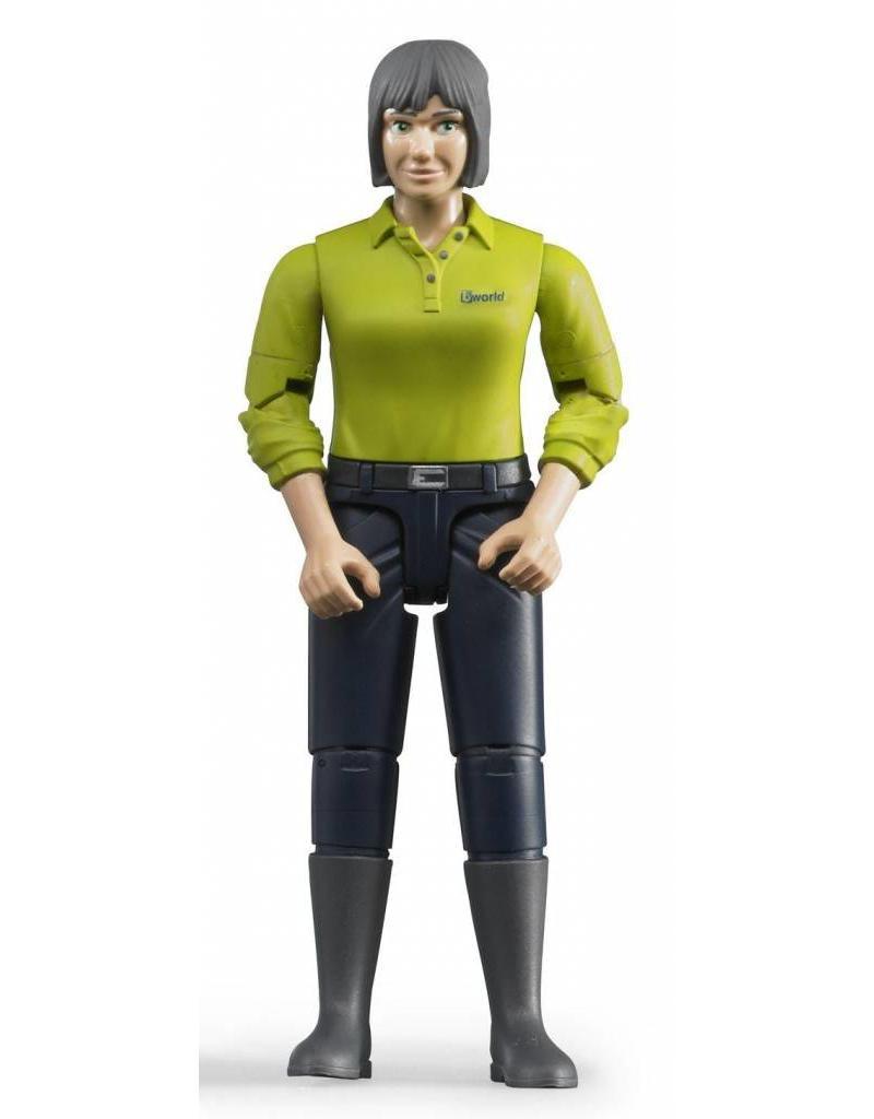Bruder Bruder 60405 - Speelfiguur vrouw: blank, grijs, donkerblauwe jeans