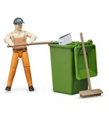 Bruder Bruder 62140 - Figurenset stratenveger / vuilnisman met accessoires