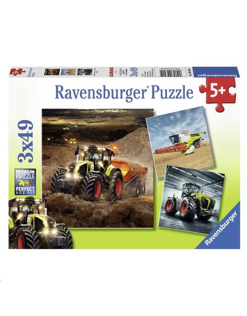 Puzzel Ravensburger Claas landbouwvoertuigen 3 x 49 stukjes