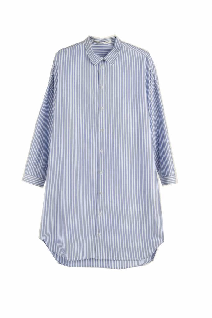 Monique van Heist 0+8 blouse blue stripe cotton