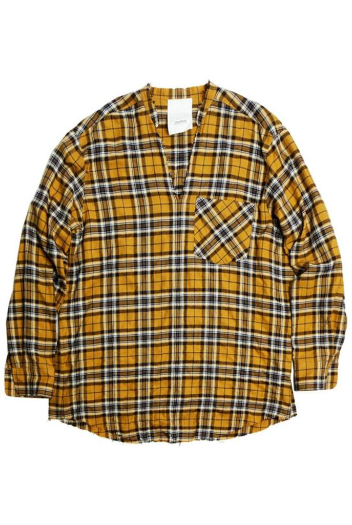 Raglan v-neck shirt navy yellow check