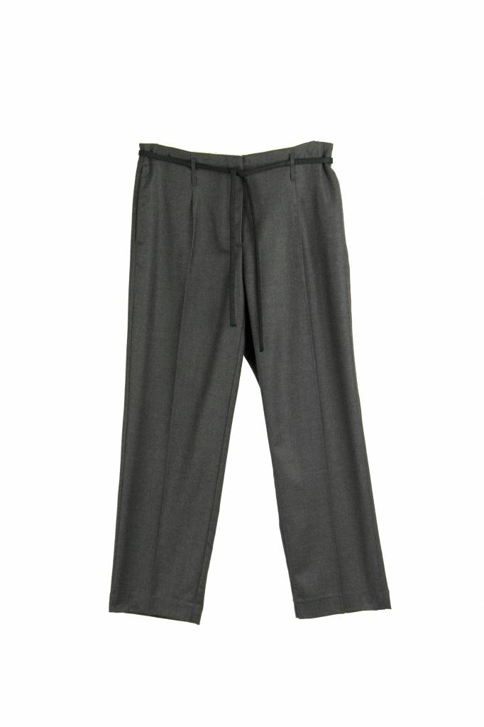 Pomandère Charcoal belted woven trousers