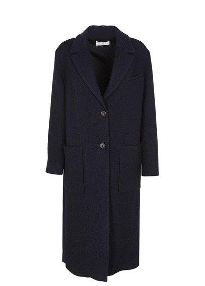 Pomandère Coat long dark blue wool