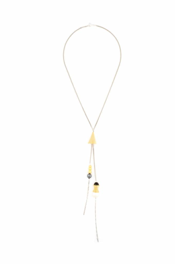 Wouters & Hendrix pendant necklace with stones and plated cone