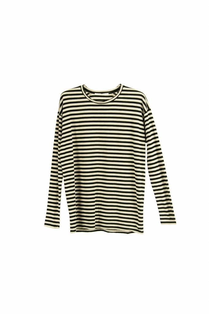 Pomandère t-shirt stripe black/ ecru mêlee
