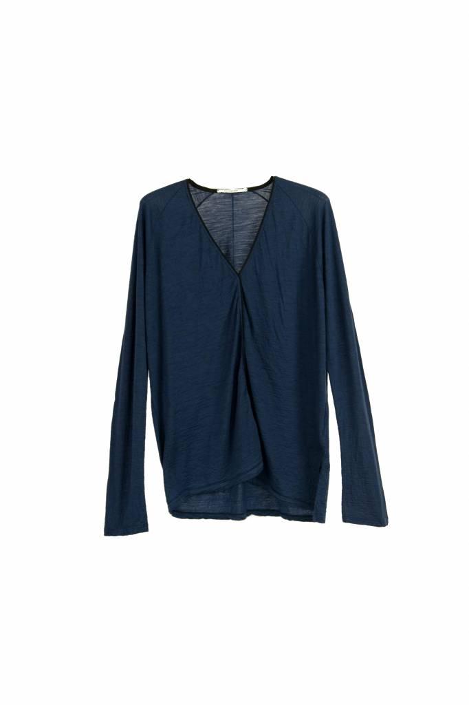 Pomandère t-shirt long sleeve V indigo