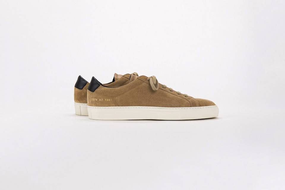Common Projects Achilles retro low sneaker suede cognac