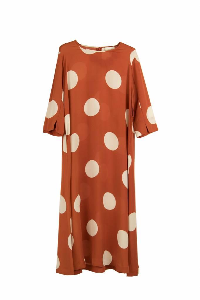Kokoon Aba jurk orange mega dot