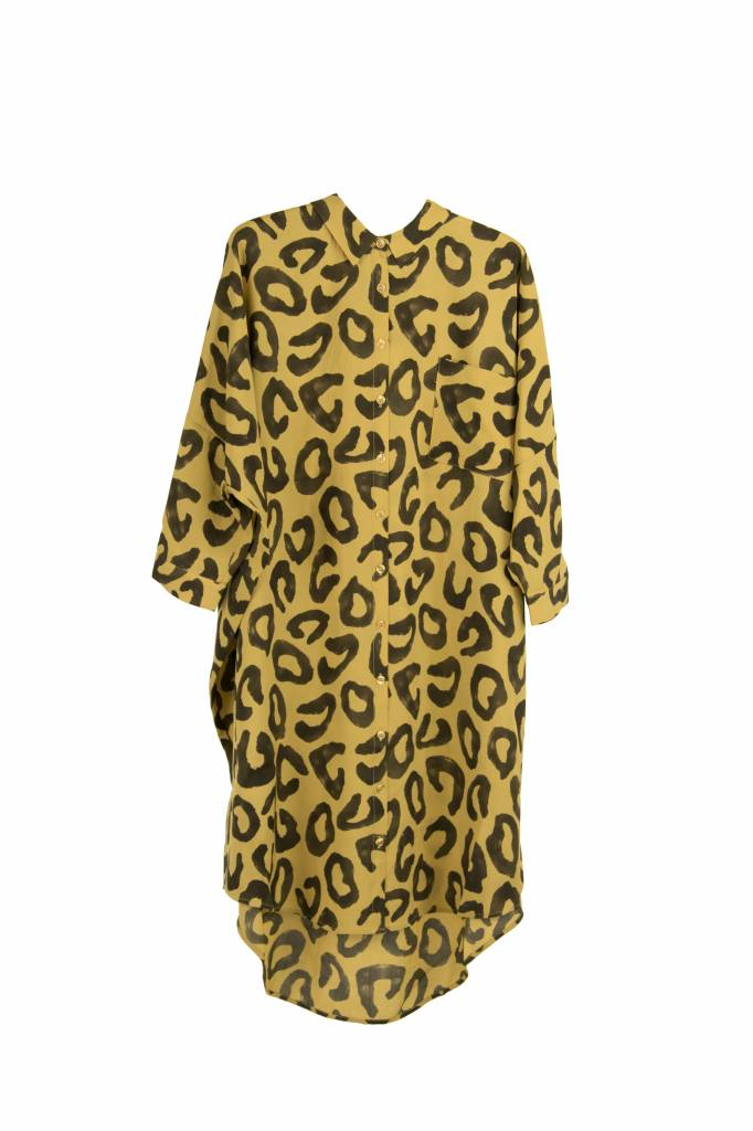 Kokoon Oversized shirt dress dust yellow leo