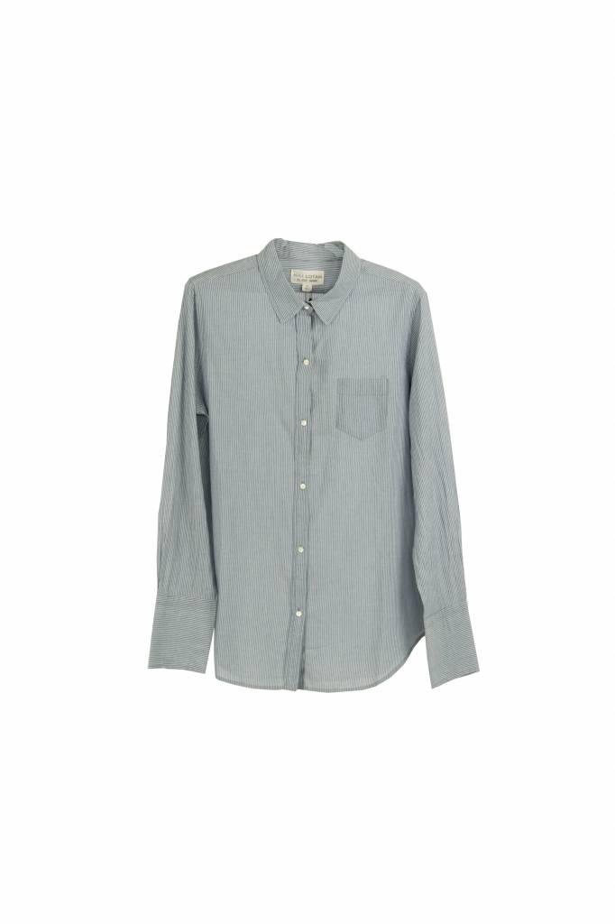 Nili Lotan NL shirt blouse ivoor/indigo stripe