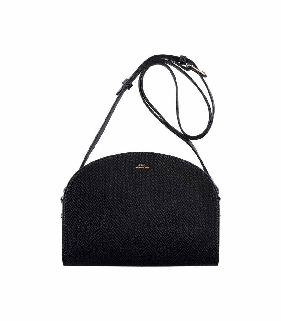 A.P.C. half moon bag black snake skin motif