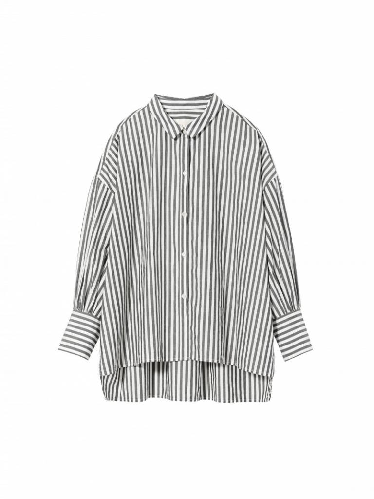 Nili Lotan Fulton shirt black and white stripe