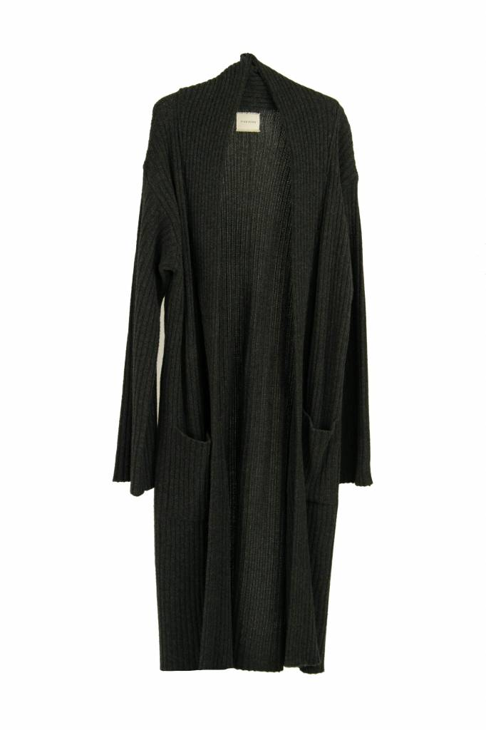 Fine Edge Ribbed maxi coat