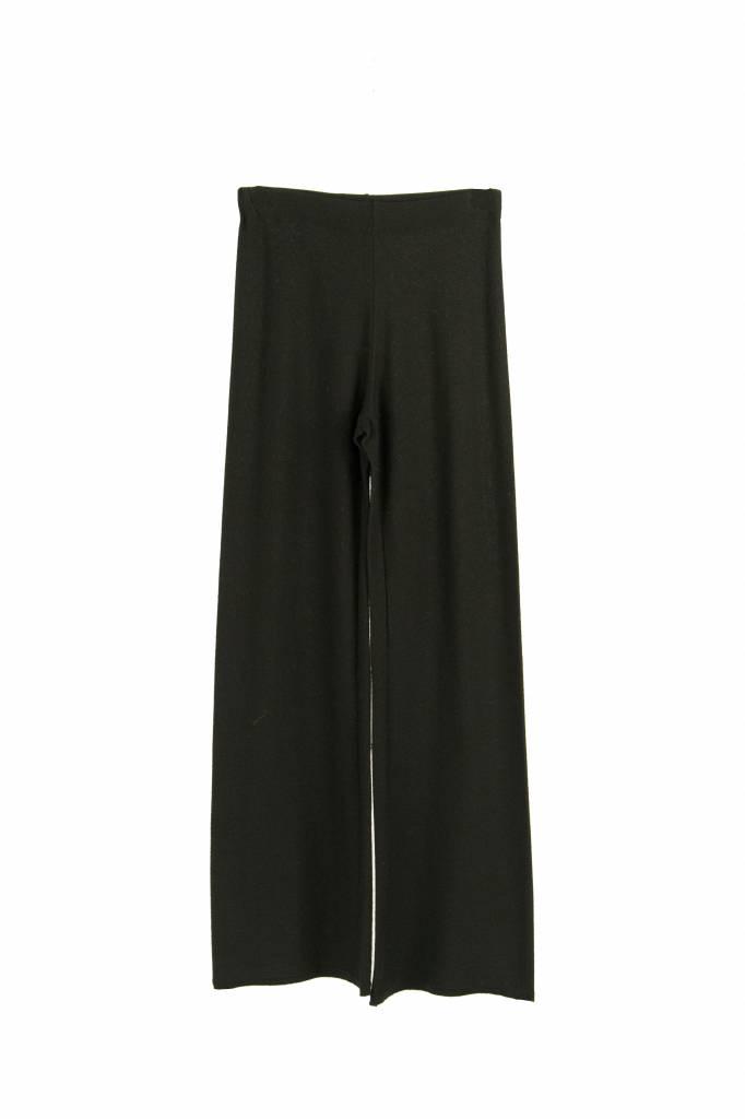 Fine Edge merino flare trousers black