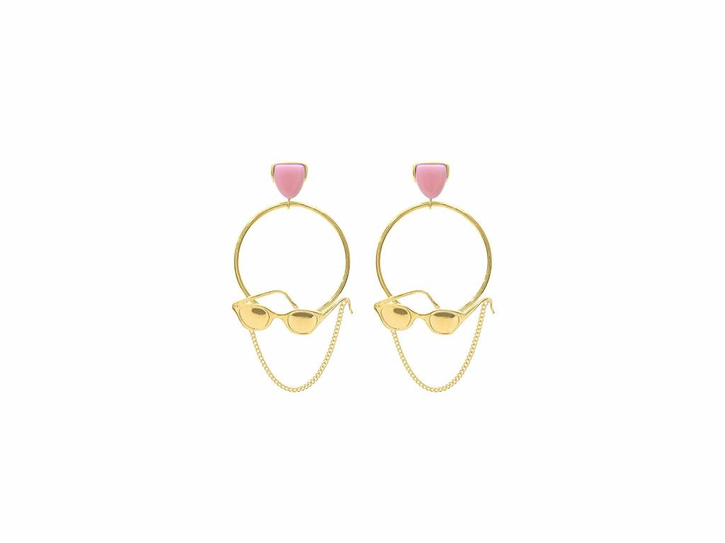 Wouters & Hendrix sunglasses drop earrings with pink resin