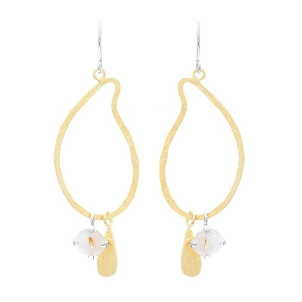 Wouters & Hendrix hammered earrings with rutilated quartz