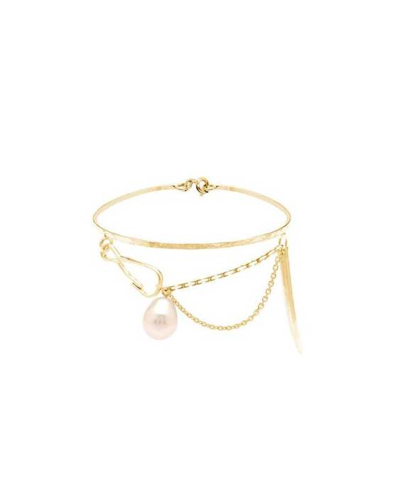 Wouters & Hendrix bracelet with chain and white pearl