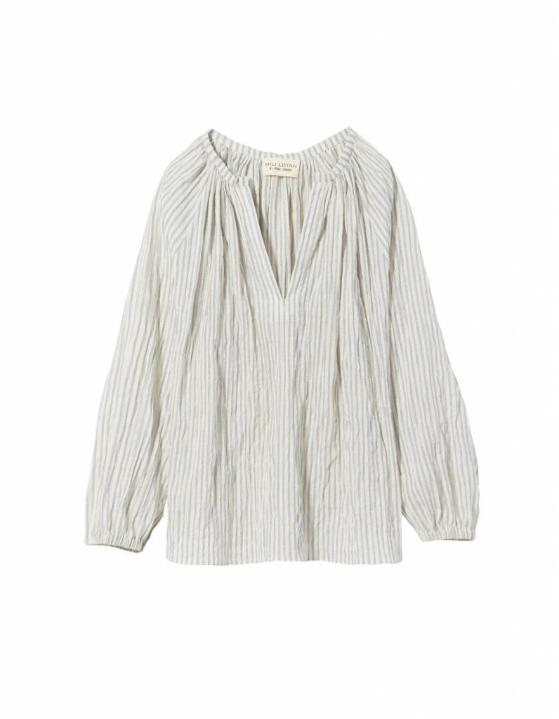 Nili Lotan Saint Tropez blouse white navy stripe