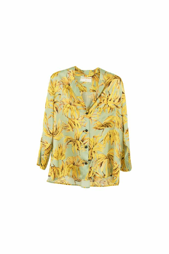 Pomandère blouse buttoned down leaves aqua yellow
