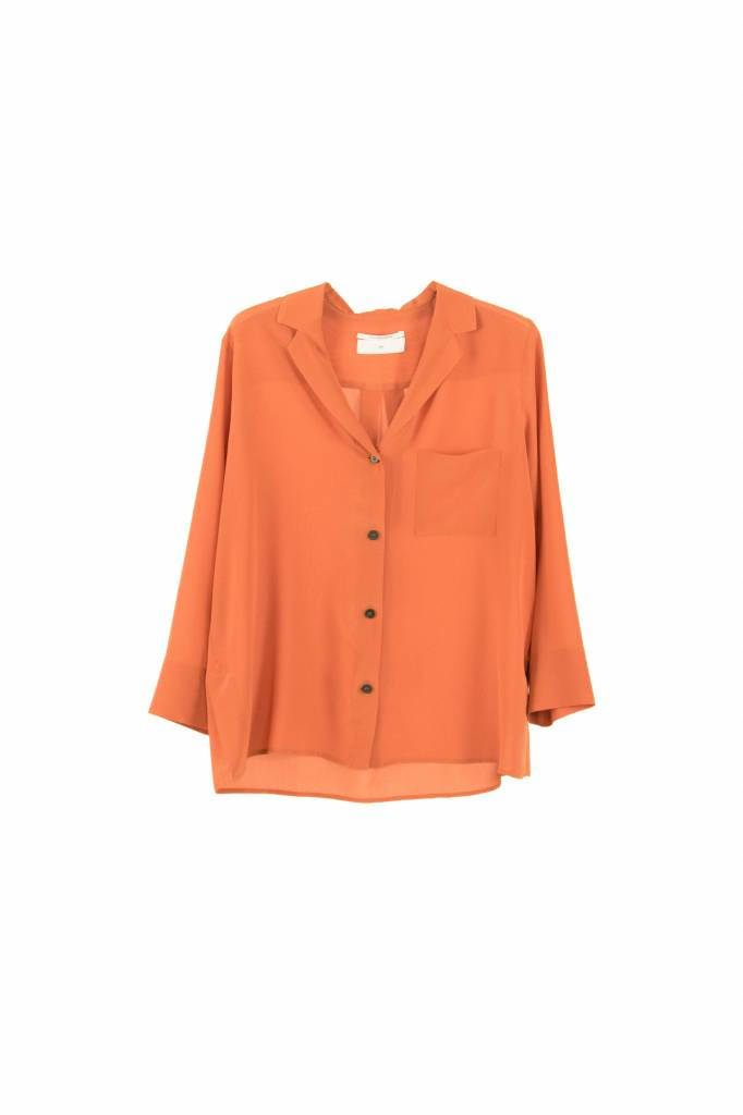 Pomandère blouse buttoned down orange silk