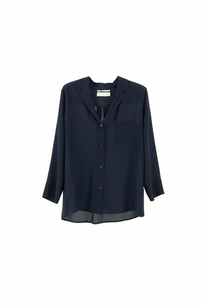 Pomandère blouse buttoned down navy silk