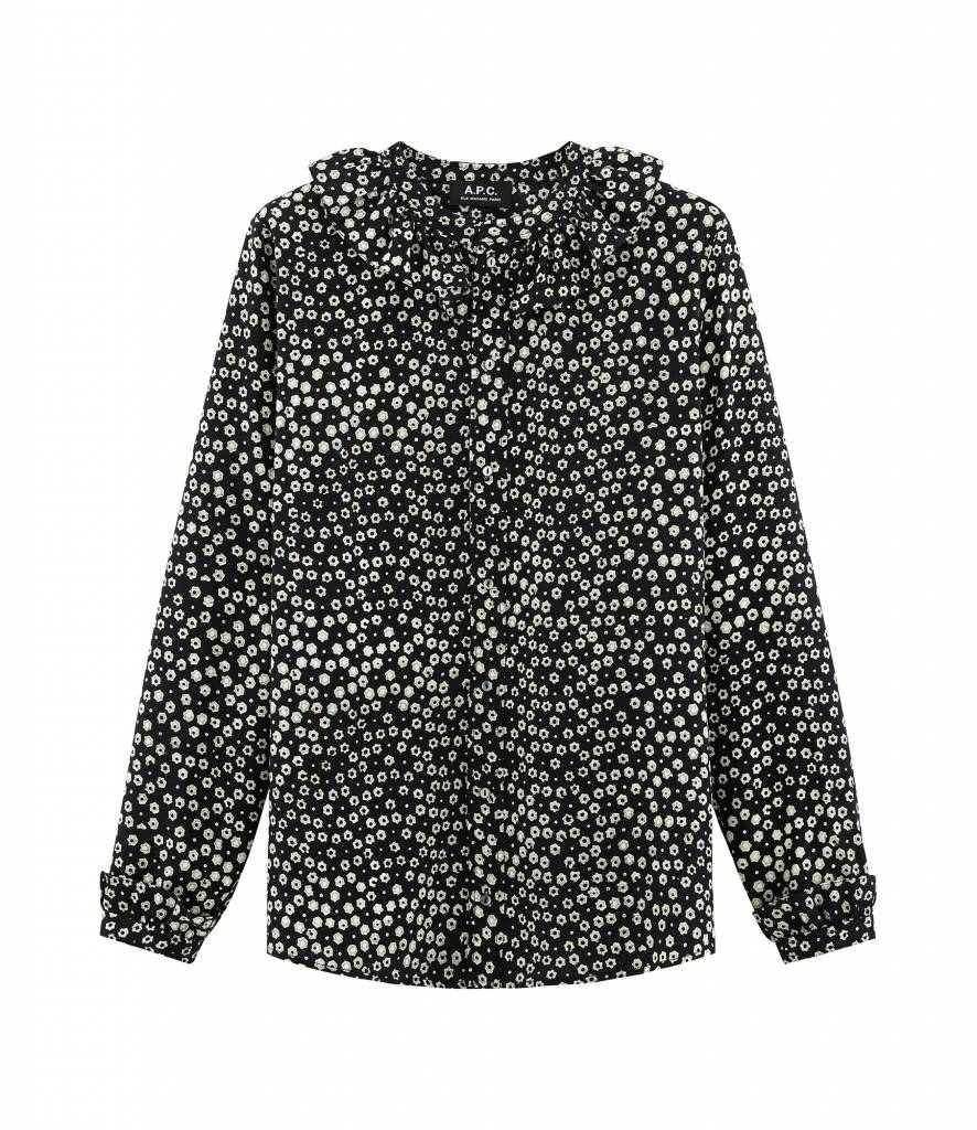 Lona blouse black print green