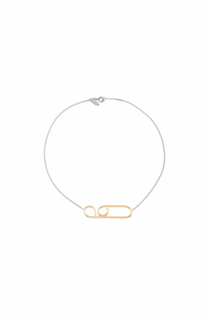 silver necklace with goldplated curved wire