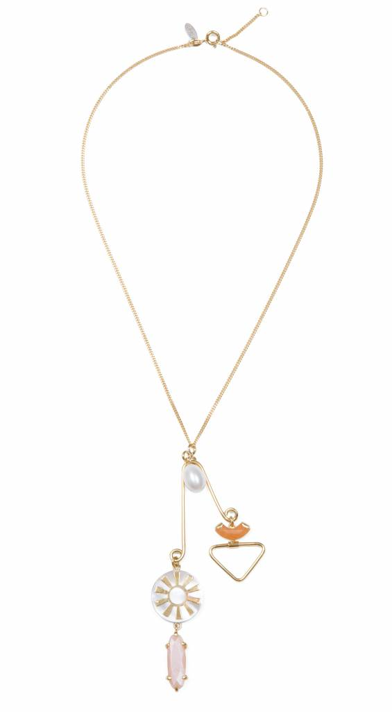Wouters & Hendrix goldplated necklace with pendant, aventurine, sunstone, m.o.p. and freshwater pearl