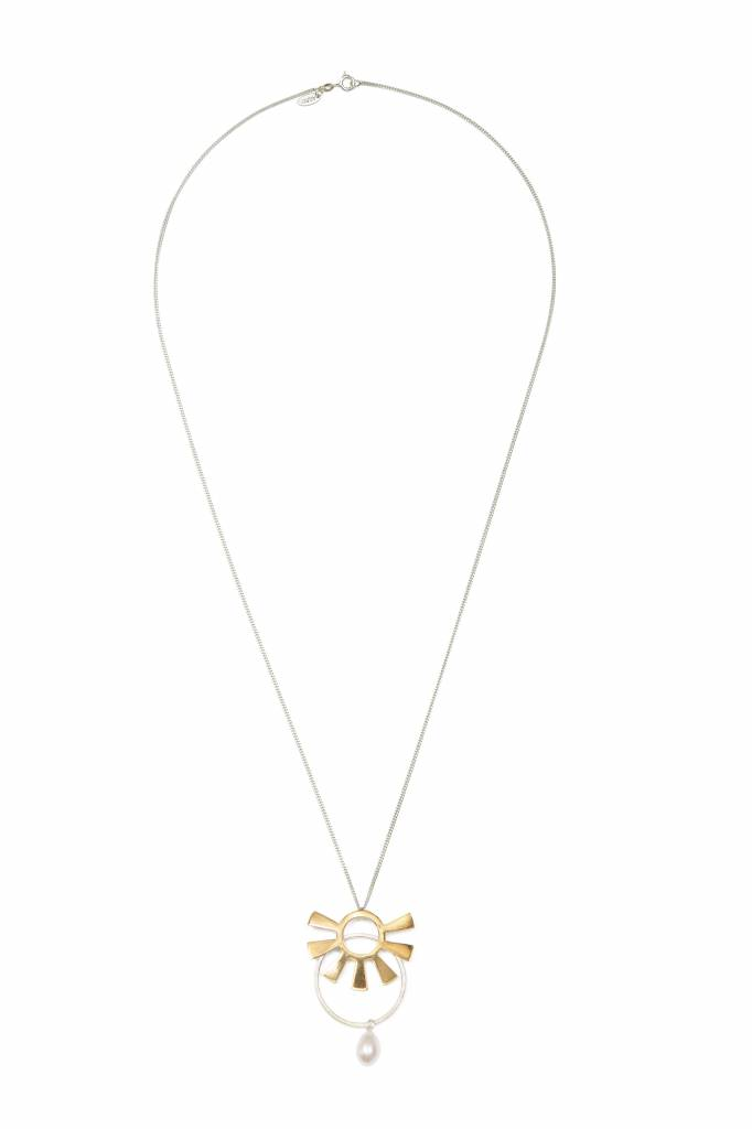 Wouters & Hendrix long mixed necklace with gold sun, circle and pearl
