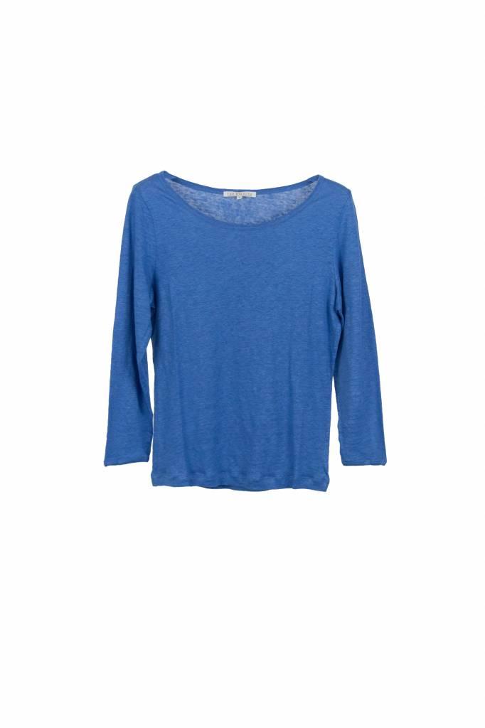 Rue Blanche Lino 3/4 t-shirt cobalt