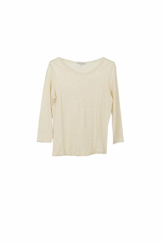 Rue Blanche Lino 3/4 t-shirt creme