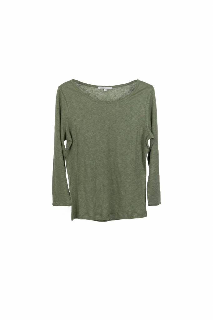 Rue Blanche Lino 3/4 t-shirt kaki