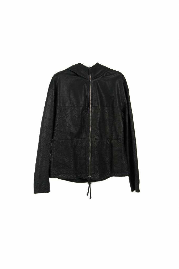 I'm Short black leather hoodie jacket