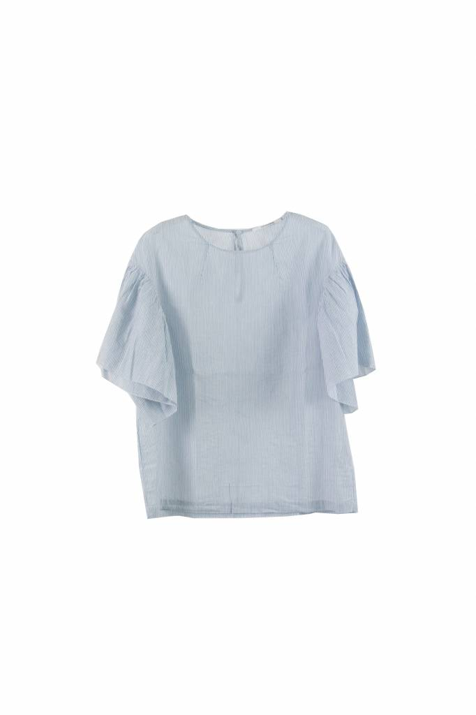 Pomandère shortsleeve top blue striped