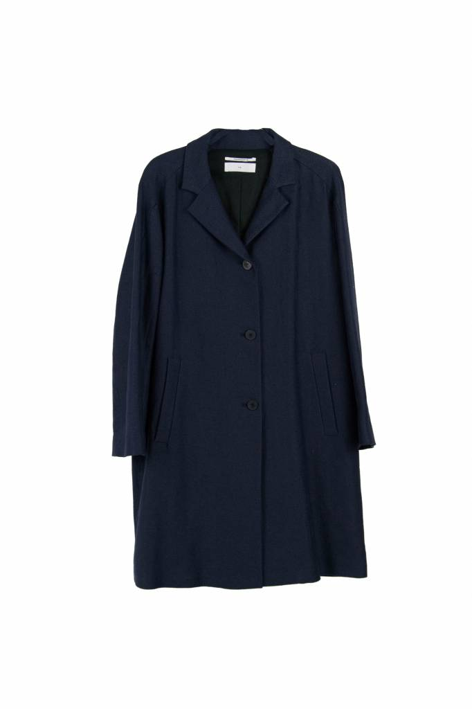 Pomandère signature coat blue linen