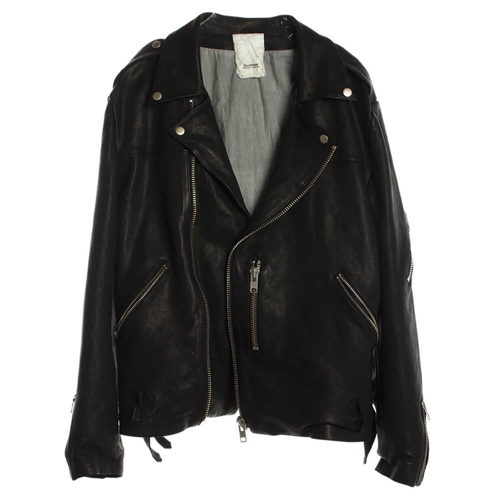 Stand Aloné oversized lambskin biker jacket black