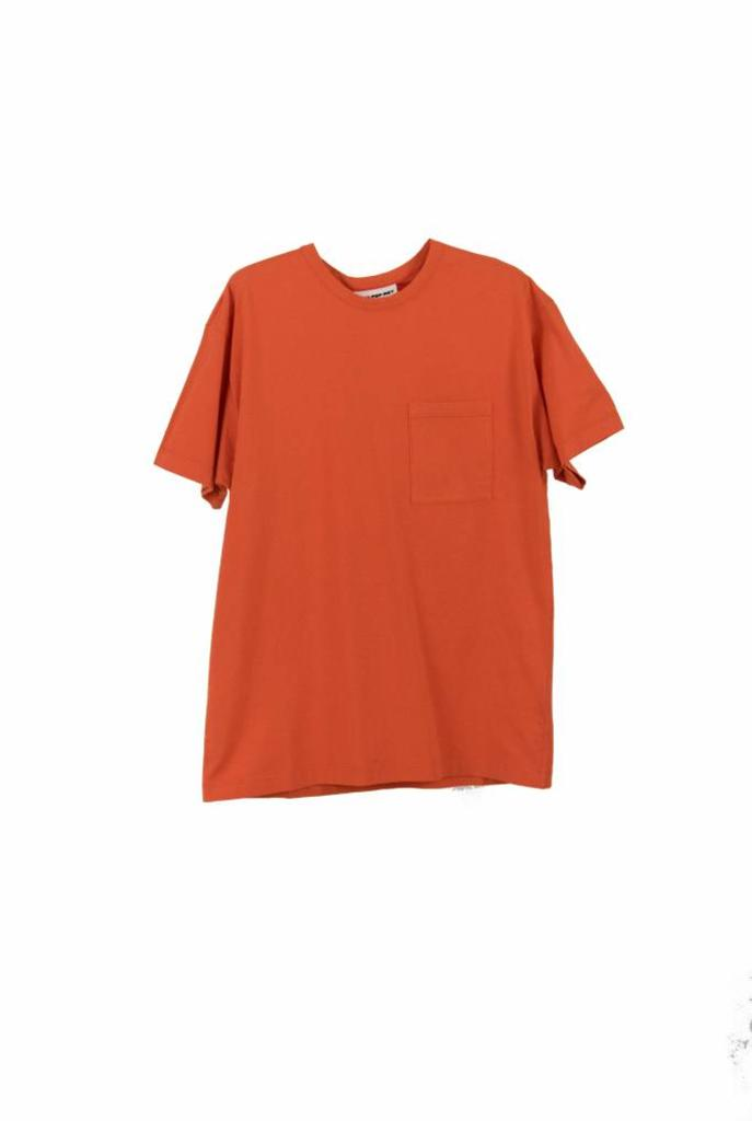 Unisex pocket t-shirt S/S red orange
