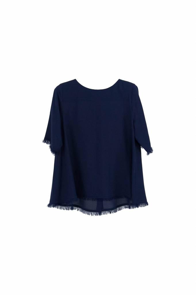 Kokoon A ss fringe blouse navy