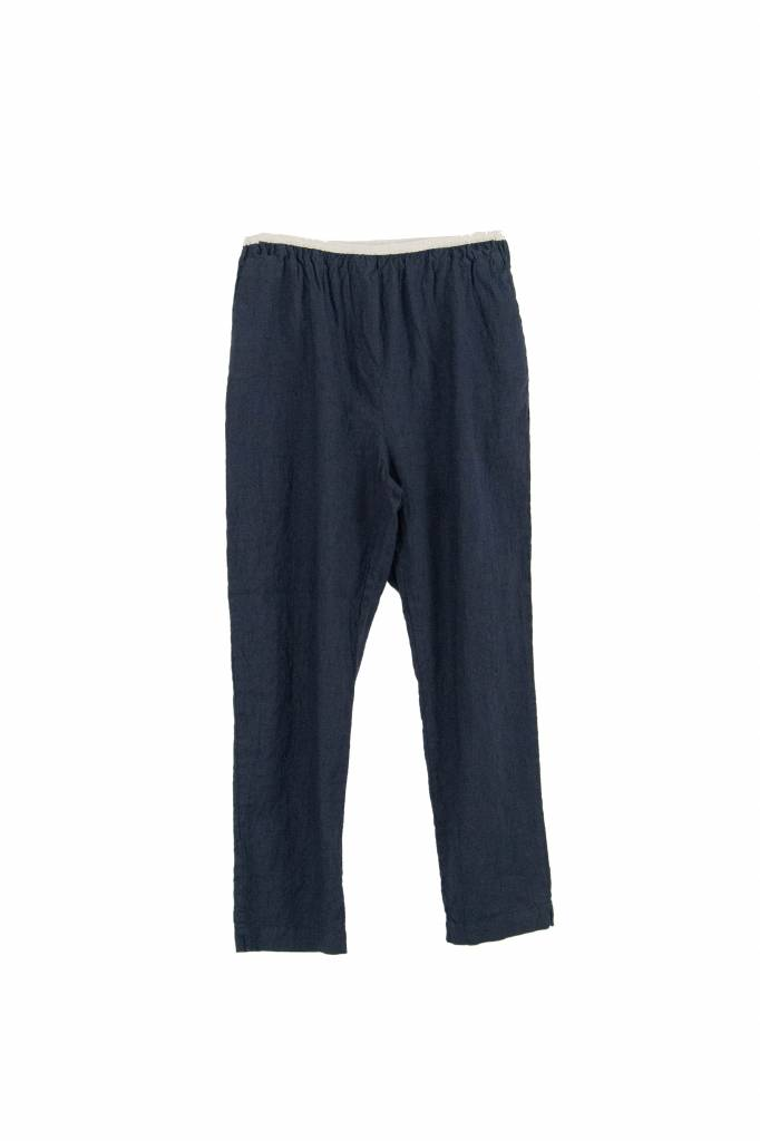 Pomandère linen elastic pantalon navy