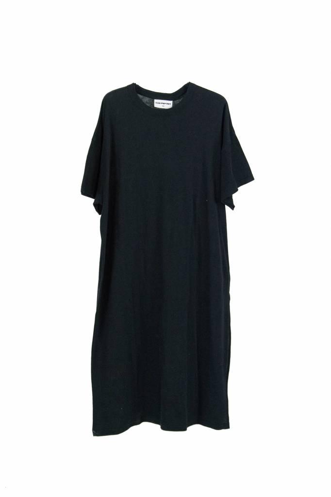 Can Pep Rey Long Loose dress S/S split black