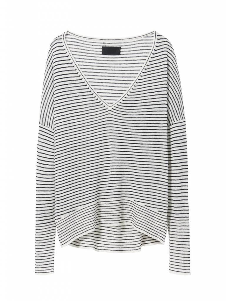 Nili Lotan Scout sweater ivory navy stripe