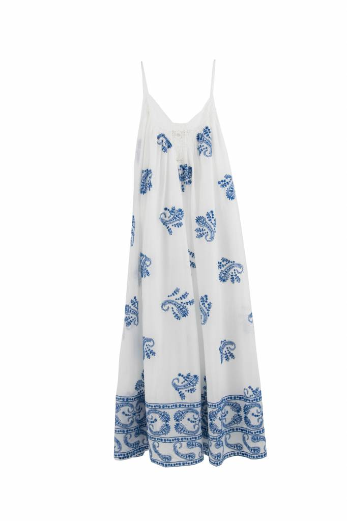 Vanessa Bruno Izais dress white blue embroidered
