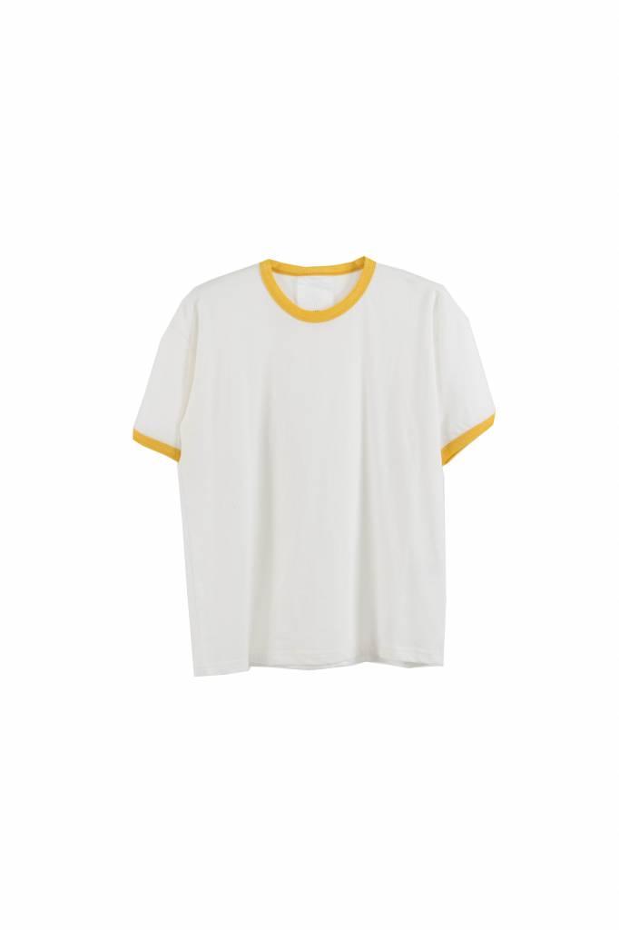 Stand Aloné white t-shirt yellow borders