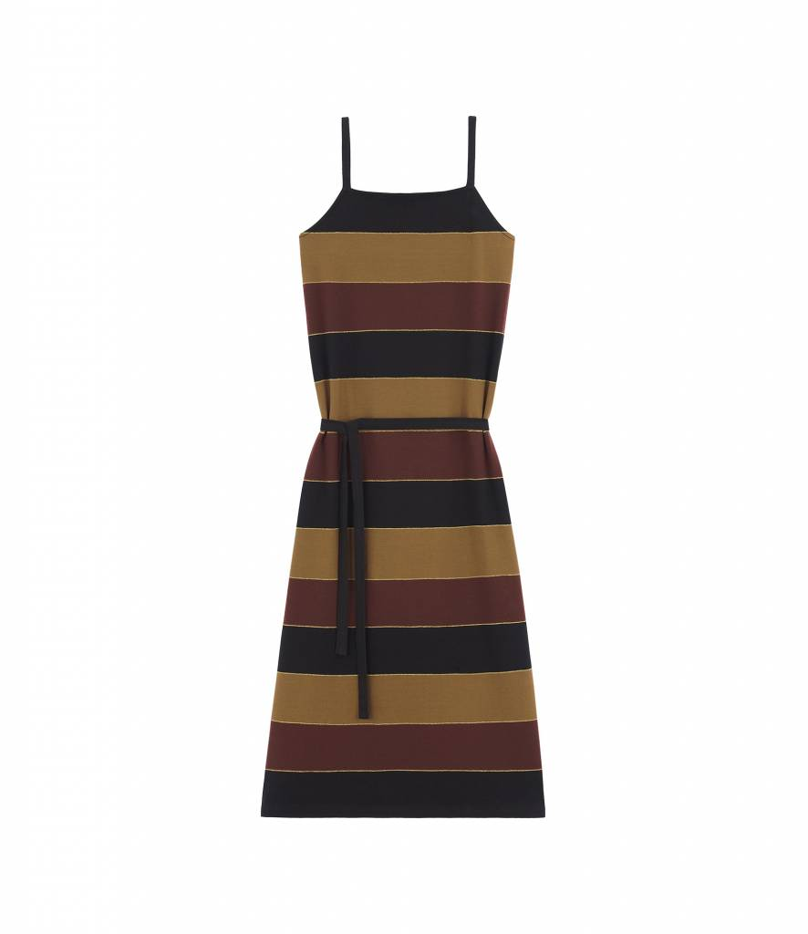 A.P.C. Jude dress navy chestnut stripe