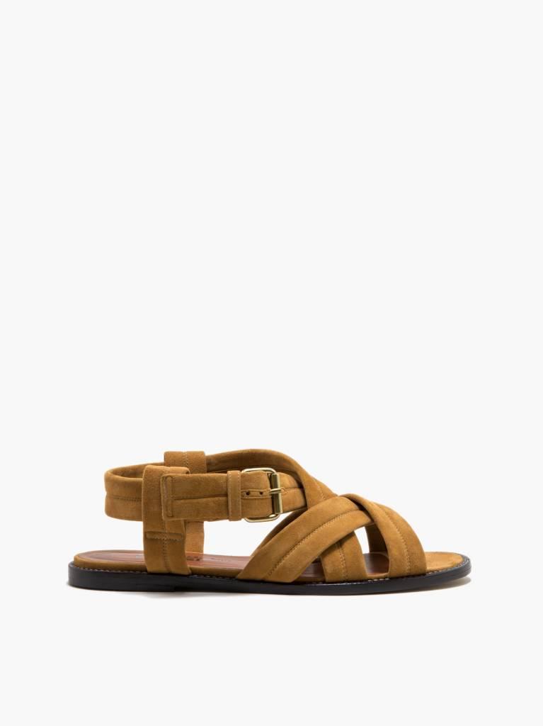Michel Vivien Orama sandal cognac velour